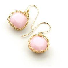YooLa Swarovski Crystal Earrings, Dangle Pink Earrings, ($47) ❤ liked on Polyvore