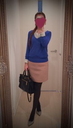 Striped shirt with skirt and blue sweater - http://ameblo.jp/nyprtkifml