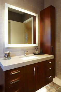Frameless Mirrors Bathroom Contemporary With Floating Vanity Lighted Mirror Rectangular Wall Tile Square Striated