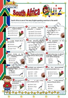 South Africa Quiz - ESL worksheet by Geography Worksheets, Geography Activities, Kindergarten Activities, South Africa Facts, South Africa Map, Africa Activities For Kids, Africa Quiz, Africa Craft, African Art Projects