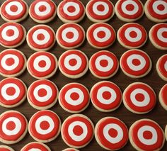 Target logo decorated sugar cookies by I Am the Cookie Lady 12th Birthday, Birthday Ideas, Birthday Parties, Themed Cupcakes, Mini Cupcakes, Logo Cookies, Happy B Day, Cookie Ideas, Cookie Monster