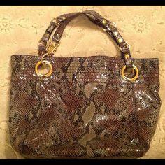 Python embossed tote bag with big gold grommets Superb bag! Lightweight! Inside zippered pocket. Barely used. Steven Bags Shoulder Bags
