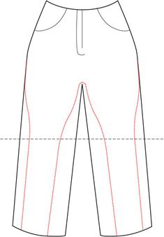 "Make Your Own Jodhpur Breeches ""The red dotted line is the shape you will sew, and the black dotted line is where your knees are. I advise choosing trousers that have a slight stretch and are a good weight for maximum exaggeration."" from http://kingdomofstyle.typepad.co.uk"