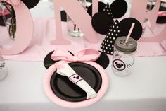 Set of 12 Minnie Mouse Inspired Party Plates by SweetlyChicEvents on Etsy https://www.etsy.com/listing/185076960/set-of-12-minnie-mouse-inspired-party