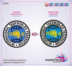 ITF INTERNATIONAL TAEKWON DO FEDERATION EMBROIDERY. Bordado y Parche de la ITF.