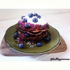 Saturday Pancake Stack !!! Buckwheat Blueberry Pancakes topped with a raspberry chia coolie, fresh blueberries and some delish vanilla @coyo_is_coconuts !! #pancakestack #coyo #getinmybelly #buckwheat #fitfam #fitfood #vegan #vegansofig #nutrition #nourish #veganfood #healthyfood #foodpic #foodshare #cleaneating #eatclean #bestofvegan #veganlife #fitspo #inspiration #plantbased #protein #healthspo #instafood #instagood #health #Padgram