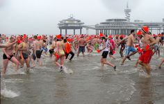 traditional Newyears dive at scheveningen beach