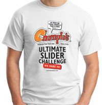 Chompie's Ultimate Slider Challenge (food challenge featured on Travel Channel's Man v. Food) T-Shirt at  www.chompies.com