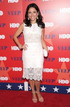 "Julia Louis-Dreyfus, 51, looked fabulous on Tuesday evening as she arrived at the star-studded NYC screening of her new comedy series, ""Veep."" The former ""Seinfeld"" star -- who portrays Vice President Selina Meyer on the upcoming HBO show -- flashed her pearly whites while wearing a chic, age-appropriate Dolce & Gabbana dress, Irene Neuwirth jewels, and Guiseppe Zanotti sandals."