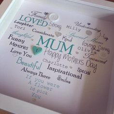 Heart Button Box Frame Picture (personalised with your words)