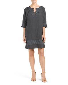 Made+In+Italy+Crochet+Shift+Linen+Dress