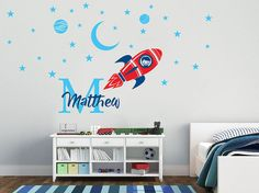 Handmade Series Wall Decal Nursery For Home Bedroom Children Custom Name /& Initial Space Rocket Moon And Spacecraft AM Baby Boy Girl Unisex