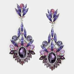 "These gorgeous large purple earrings, 3.4"",  will go with virtually any shade of purple outfit or dress. Make a statement at your next pageant, prom or homecoming with these large purple chandelier earrings."