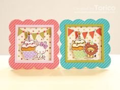 A set of mini birthday cards for kids using the ME Carnival Cupcakes and Carnival Toppers.