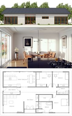 Small House, Small Home Plan 2018 Bungalow House Plans, Modern House Plans, Small House Plans, House Floor Plans, Bungalow House Design, House Layout Plans, House Layouts, Container House Plans, Container Homes