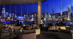 """InterContinental's """"The Lobby Lounge"""" is my favorite place to see the daily """"Symphony of Lights"""" (starting at 8pm) in Hongkong. Read more at Best-Hong-Kong-Hotels.net."""