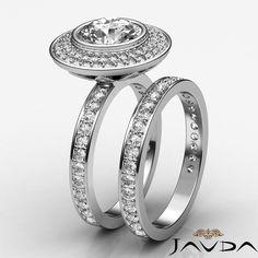 Women's Halo Round Diamond Engagement Ring Bridal Set GIA I VS2 Platinum 2 28 Ct | eBay