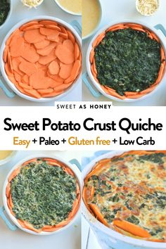 Sweet potato crust quiche Healthy Quiche, Spinach Quiche Recipes, Paleo Spinach Recipe, Fresh Spinach Recipes, Vegan Sweet Potato Pie, Sweet Potato Pie Crust Recipe, Sweet Potato Hummus, Vegetarian Recipes, Healthy Recipes