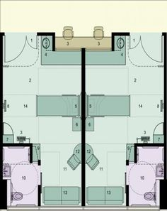 A floor plan of the acuity-adaptable single-bed rooms. Research shows that such rooms reduce medication errors and keep patients and staff safer. MultiCare Good Samaritan.