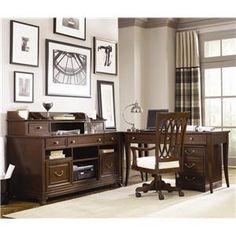 Love the traditional desk.....Cherry Grove Home Office Desk Suite by American Drew - Wolf Furniture - L-Shape Desk Pennsylvania, Maryland, Virginia
