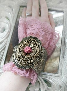 HEIRLOOM GARDEN Victorian vintage inspired lace and aged brass filligree cuff flower bracelet #romantic