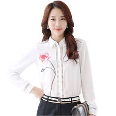 Cheap designer white blouses, Buy Quality white blouse directly from China white blouse fashion Suppliers: Floral Printed Lady Chiffon White Blouses Size Hollow Out Design Transparent Clothing Women Fashion Shirts Cheap Blouses, Cute Blouses, American Apparel, Formal Blouses, Formal Shirts, Design Transparent, White Chiffon Blouse, Sneaker Store, Moda Formal