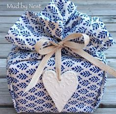 Gift wrapped in a gorgeous tea towel.