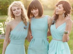 Bridesmaid inspiration - same colour, different styles. // Via The Style Fairy.
