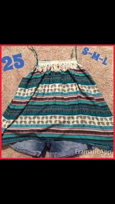 Turquoise top with fringe and crochet detail! $25 #turquoiseleopardboutique #checkoutourwebsite