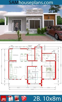 House Plans 10x8m with 2 Bedrooms - Sam House Plans Modern House Floor Plans, Sims House Plans, Modern Bungalow House, Bungalow House Plans, Contemporary House Plans, Dream House Plans, 2 Bedroom House Plans, Family House Plans, Small House Plans