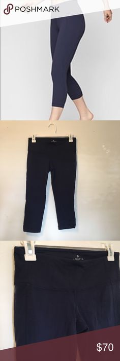 Athleta Capri Pants Navy blue, soft cropped leggings. Perfect for Yoga, Pilates, and everyday wear.  Mid rise Cropped length Athleta Pants Capris