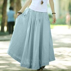 Silver Grey women skirt fashon skirts Long Skirts Linen Skirt. $48.50, via Etsy.