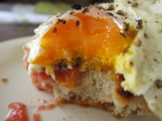 A Simple Egg Sandwich with Tomato & Cheese by you can count on me, via Flickr simpl egg, tomato, egg sandwich, comfort foods