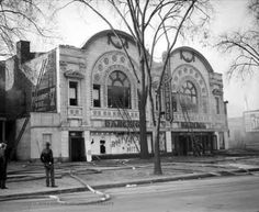 Grand Terrace Ballroom, Detroit, MI. Doing research on a photo I bought at an auction of a graduating class of Del-Mar Beauty school, 1928, which appears to have taken up the left half of this building, can even see the permanent wave adv. on the left side of the building, this was adv. all over the building in my photo. The building was demolished in 2011. if anyone has any more info or photos, please leave a comment. this is the only photo i could find that has it appearing as it does in…