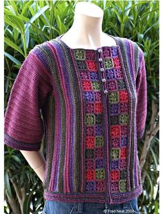 Crochet Blouse Patterns Ravelry: Flower Garden pattern by Yumiko Alexander - This Sample garment is for sale at my Etsy Shop Crochet Bodycon Dresses, Black Crochet Dress, Crochet Coat, Crochet Cardigan Pattern, Crochet Jacket, Crochet Blouse, Crochet Clothes, Crochet Patterns, Vest Pattern