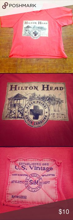 Hilton Head Vintage Crop Top Gently used crop top. Tag says S/M, but I would say it is a L/XL. US Vintage Tops Crop Tops