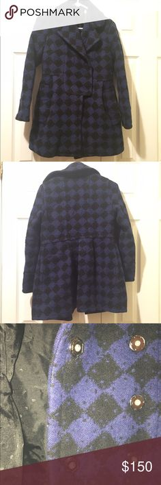 Marc by Marc Jacobs wool coat, size XS Marc by Marc Jacobs wool coat. Such an amazing statement piece! Black and blue diamond pattern throughout. Snap closure. Please note that one snap is missing. Can easily be replaced and also is not noticeable when closed. Otherwise perfect condition! Marc by Marc Jacobs Jackets & Coats Pea Coats