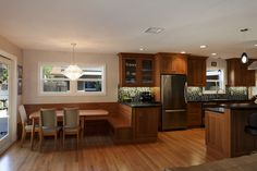 Modern Galley Style Taupe kitchen, cherry, fir cabinets, Burgin Construction, Los Angeles