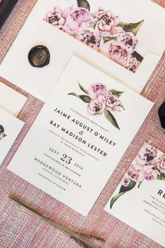 Floral abounds with Peony themed wedding invitation by Minted artist Cass Loh. Styling by 23 Layers. Available now on Minted.com