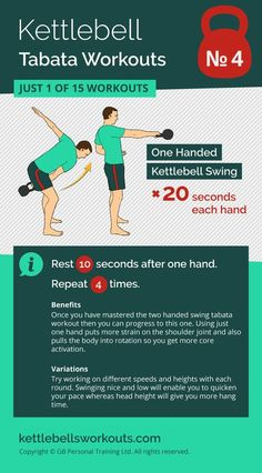 1 of 15 kettlebell tabata workouts. Using the one arm kettlebell swing this tabata workout is an excellent way to improve your kettlebell training while working the whole body with one exercise. #kettlebell #exercise #fitness #kettlebellworkout