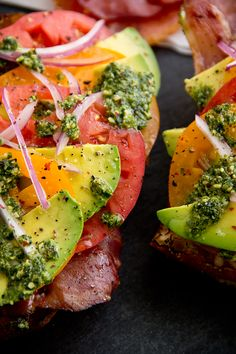 Pesto, Prosciutto, Avocado Open Sandwich