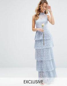 Кружевное платье макси с плиссированной ярусной юбкой Bodyfrock