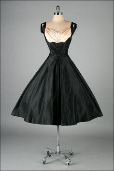 1950s Black and Pink Silk Taffeta