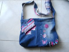 Small Denim bag, Butterfly Purse  Small shoulder bag by boutiqueseragun on Etsy