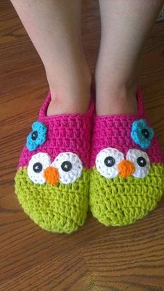 Crochet Owl Slippers Free Pattern