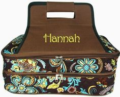 Monogrammed Brown Paisley Insulated Double Casserole Tote