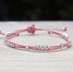 bracelet double cordons perles argent 925 s'adapte à votre poignet avec son système coulissant 24 couleurs de cordon
