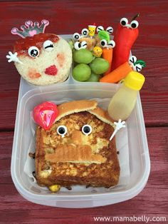 Literary Lunch . . . inspired by Lady Pancake and Sir French Toast by Josh Funk, illustrated by Brendan Kearney. Bento created for The Little Crooked Cottage by @Mama