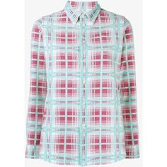 Visvim Wally Check Shirt (£545) ❤ liked on Polyvore featuring tops, red, button down shirt, button up collared shirts, checkered shirt, colorful button up shirts and collared shirt