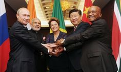 Narendra Modi with the other BRICS leaders